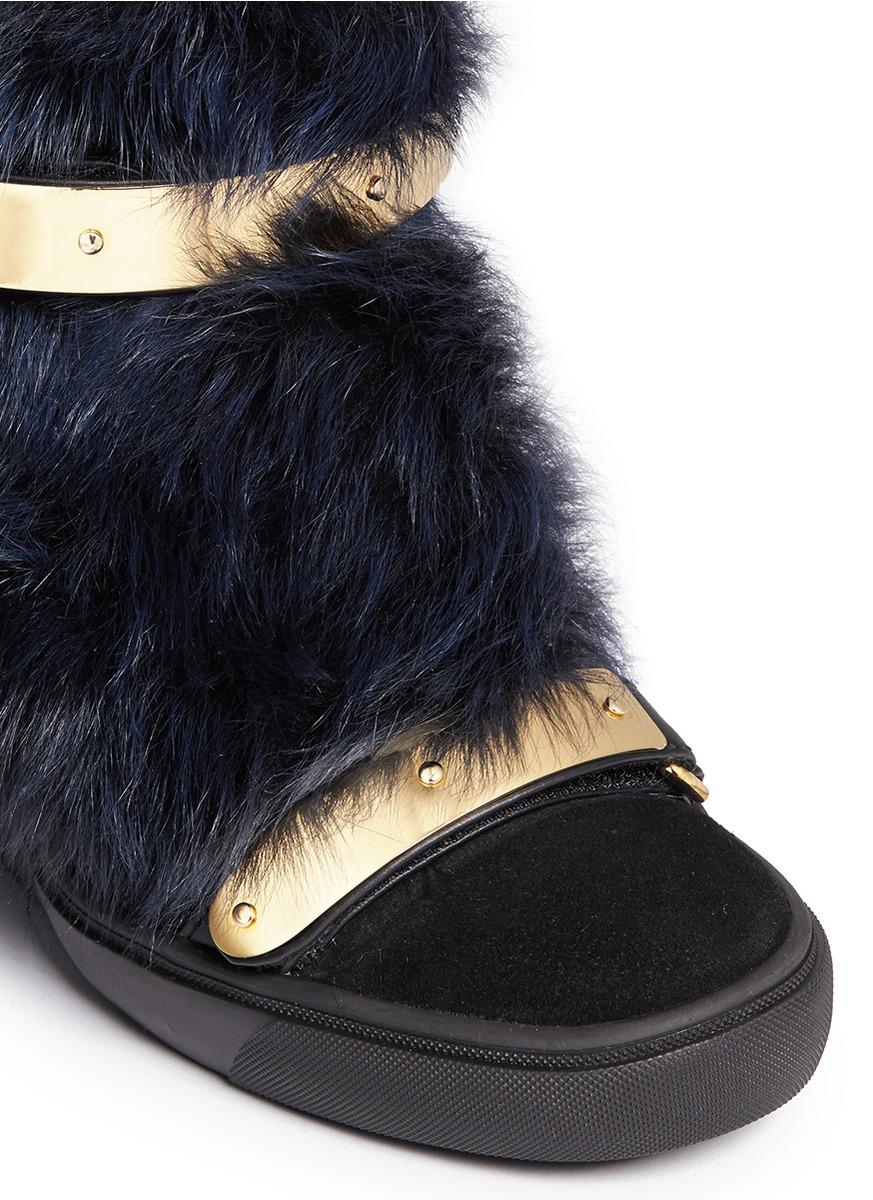 739ac4fe61d3 Lyst - Giuseppe Zanotti  lorenz  Suede Fur High Top Wedge Sneakers in Blue