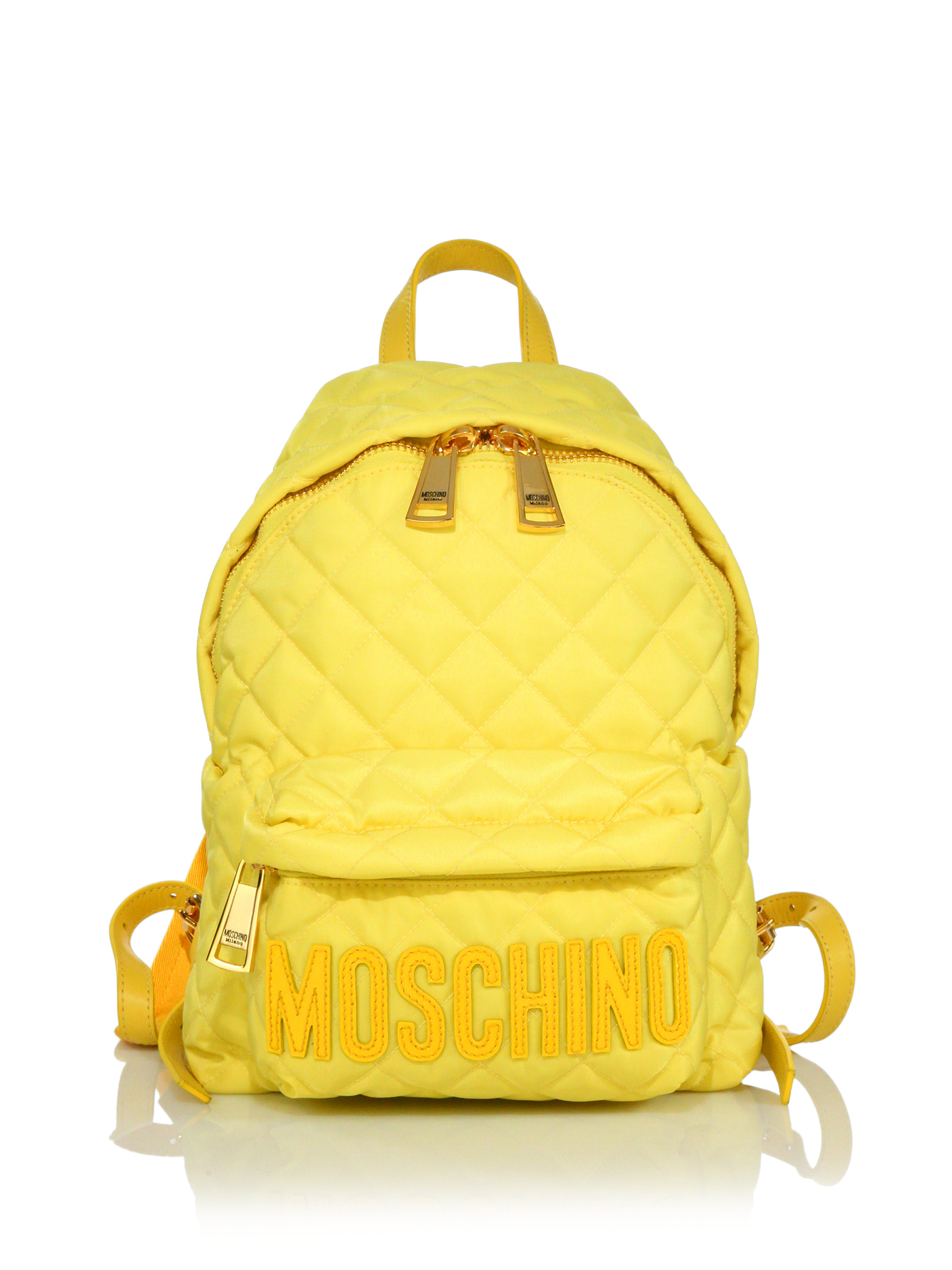 Moschino Small Quilted Nylon Logo Backpack In Yellow Lyst