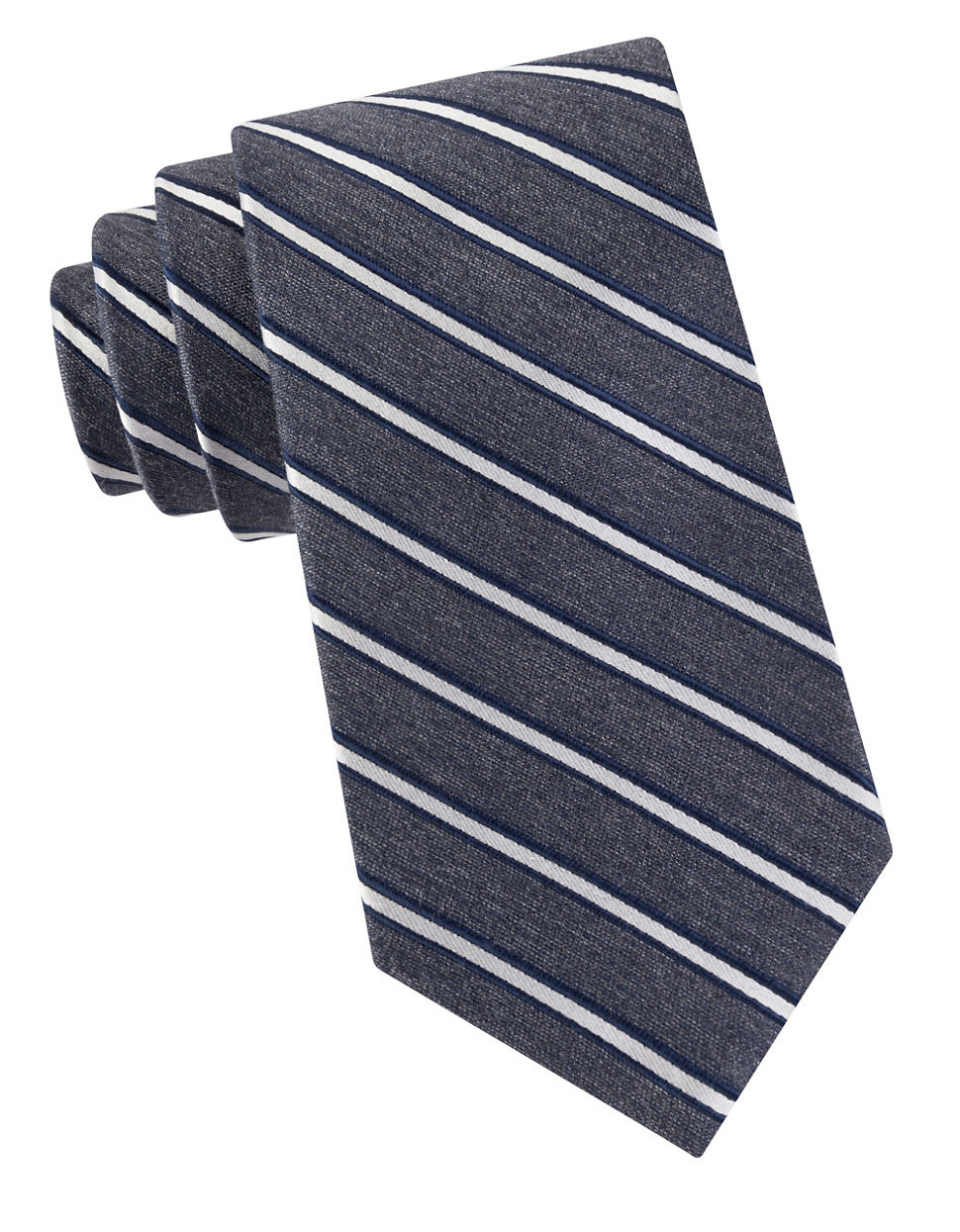 Black amp brown striped tie in blue for men gray save 52 lyst