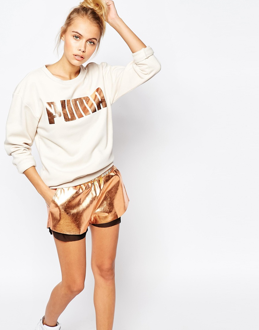 Rose Gold Ombre Glitter Makeup Brushes Set: Puma Oversized Crew Neck Sweatshirt With Rose Gold