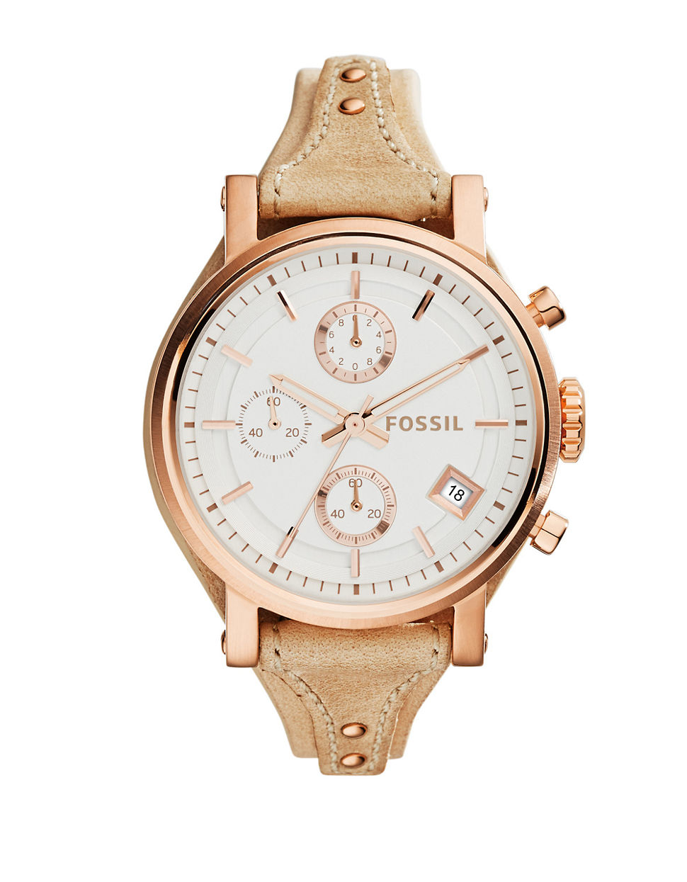 fossil ladies original boyfriend rose goldtone leather strap watch in pink lyst. Black Bedroom Furniture Sets. Home Design Ideas