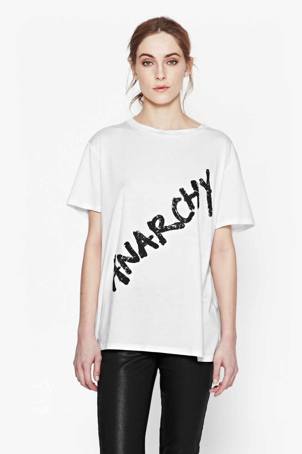 French connection anarchy t shirt in white lyst for French connection t shirt dress