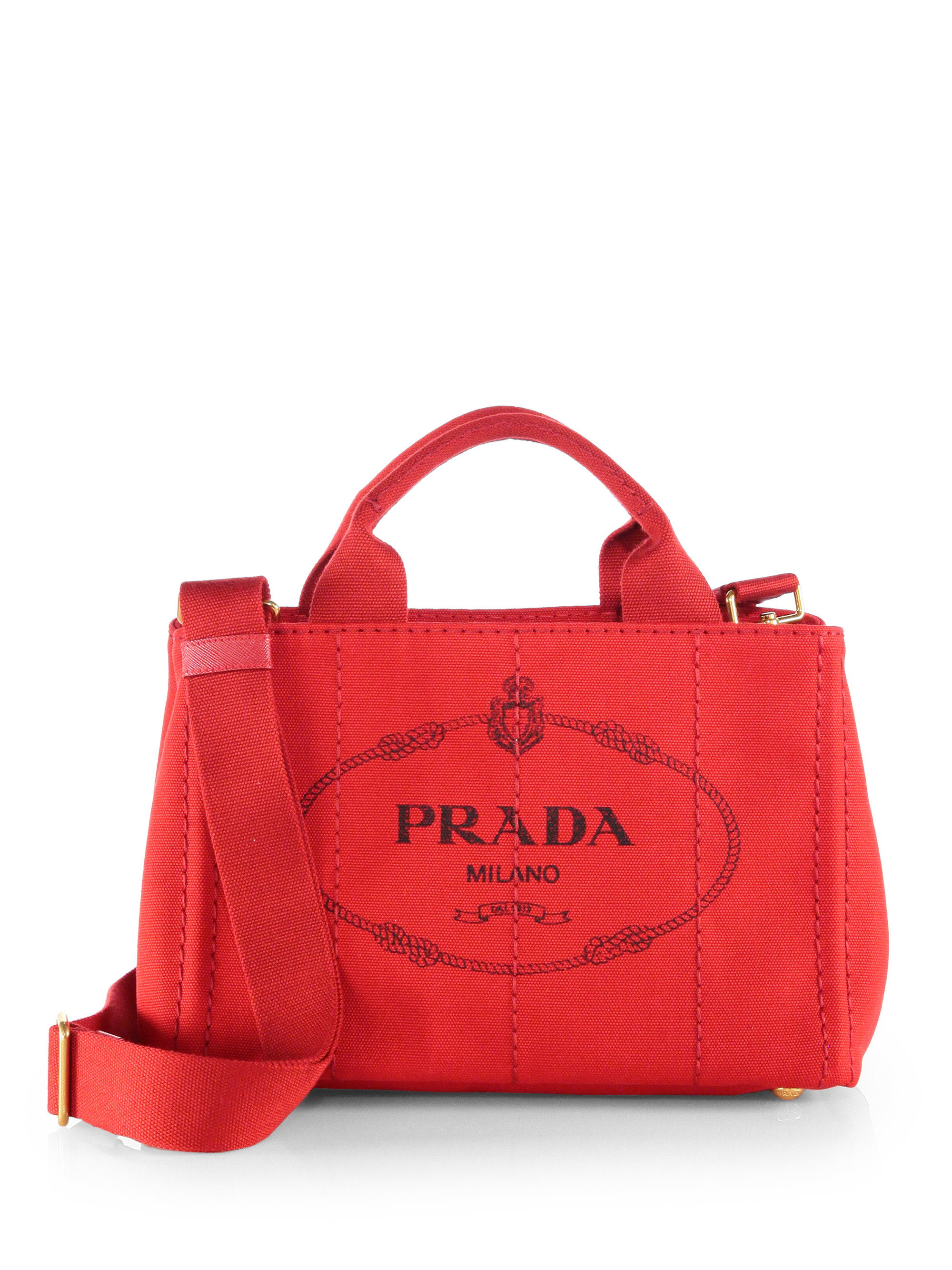 prada clutches on sale - Prada Logo-print Small Canvas Tote in Red | Lyst