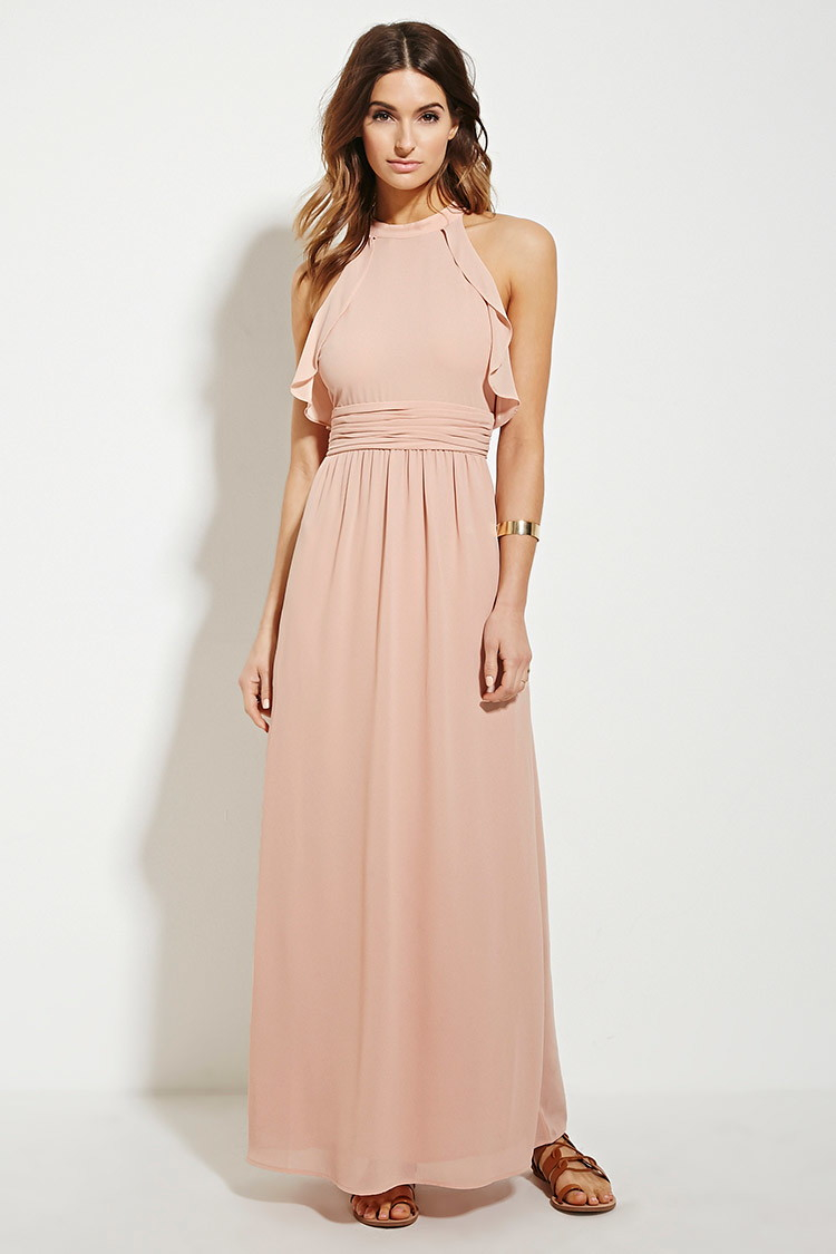 Forever 21 Contemporary Ruffle Maxi Dress in Pink | Lyst