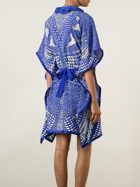 Printed Silk Dress in Blue