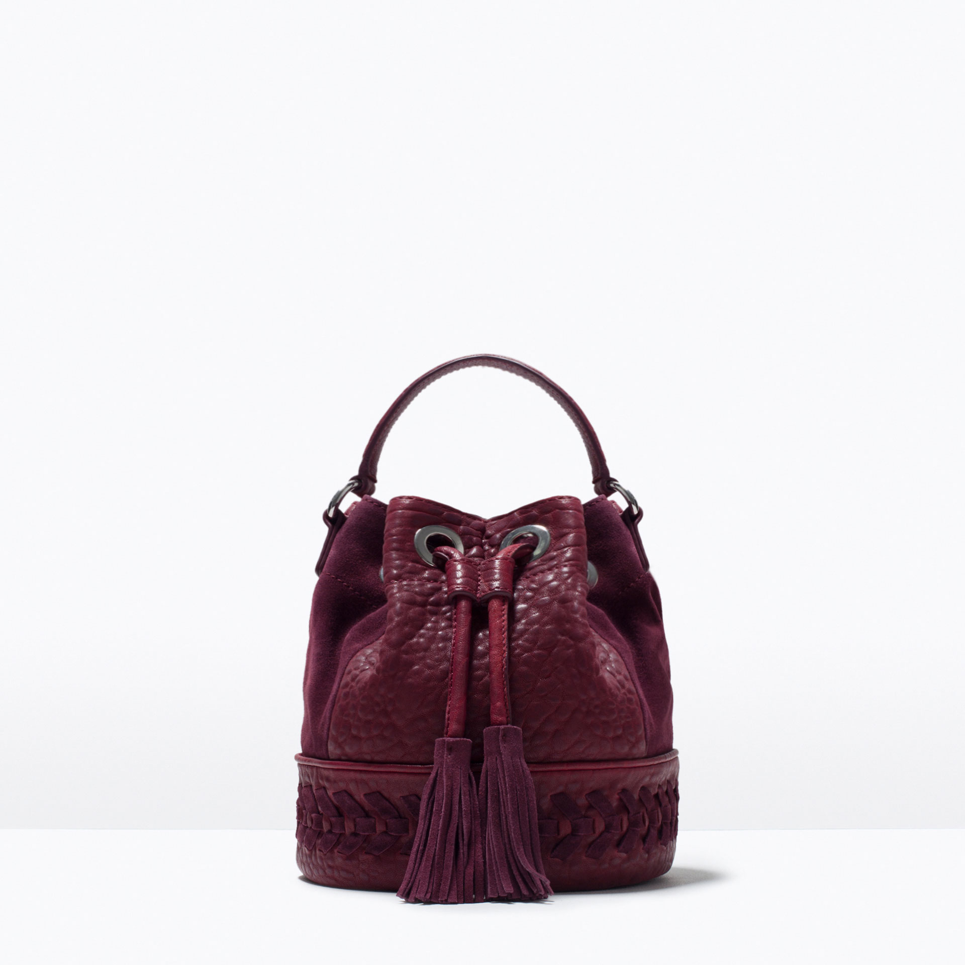 Zara Woven Leather Drawstring Bag in Purple | Lyst
