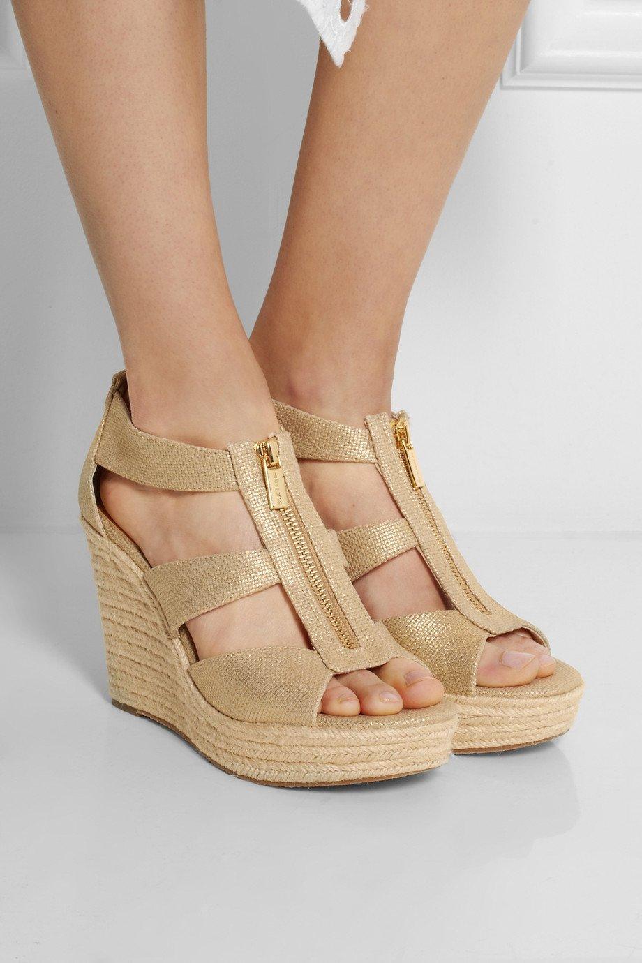 58233375e311 MICHAEL Michael Kors Damita Metallic Canvas Wedge Sandals in ...
