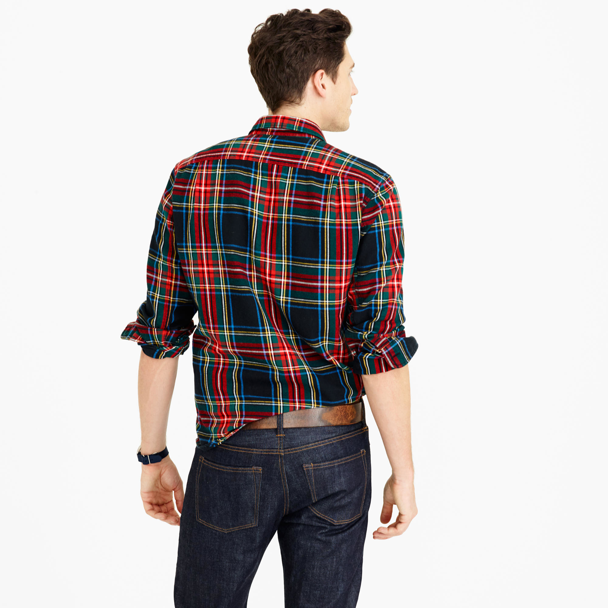 3a9d11922436 Lyst - J.Crew Midweight Flannel Shirt In Stewart Plaid in Black for Men
