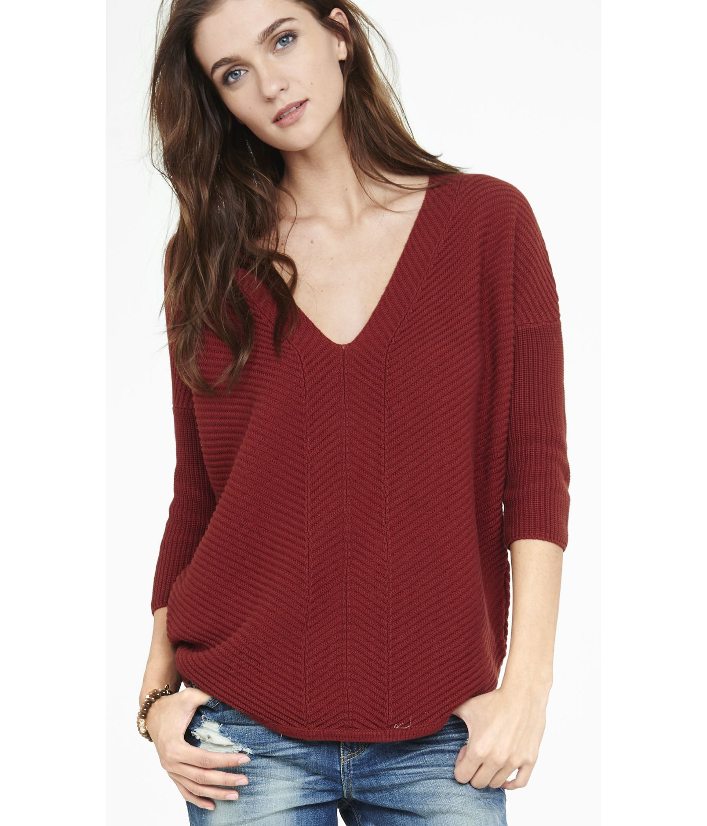 Express Engineered Rib London Tunic Sweater in Red | Lyst