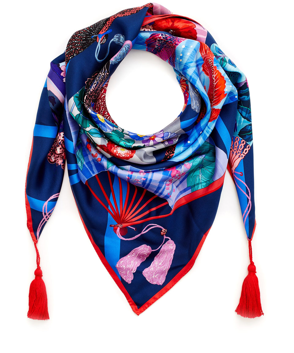 liberty navy fans of liberty silk twill scarf in blue lyst