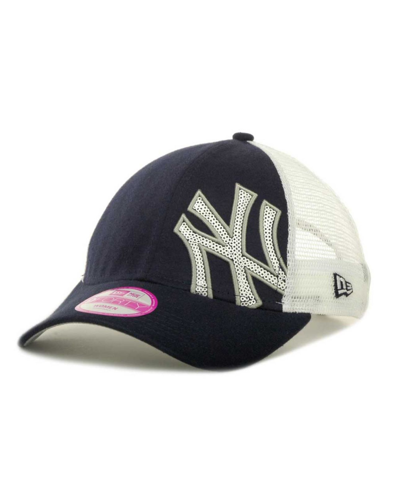 0b0029e4a5e ... canada lyst ktz womens new york yankees sequin shimmer 9forty cap in  white 32ce8 50a3c