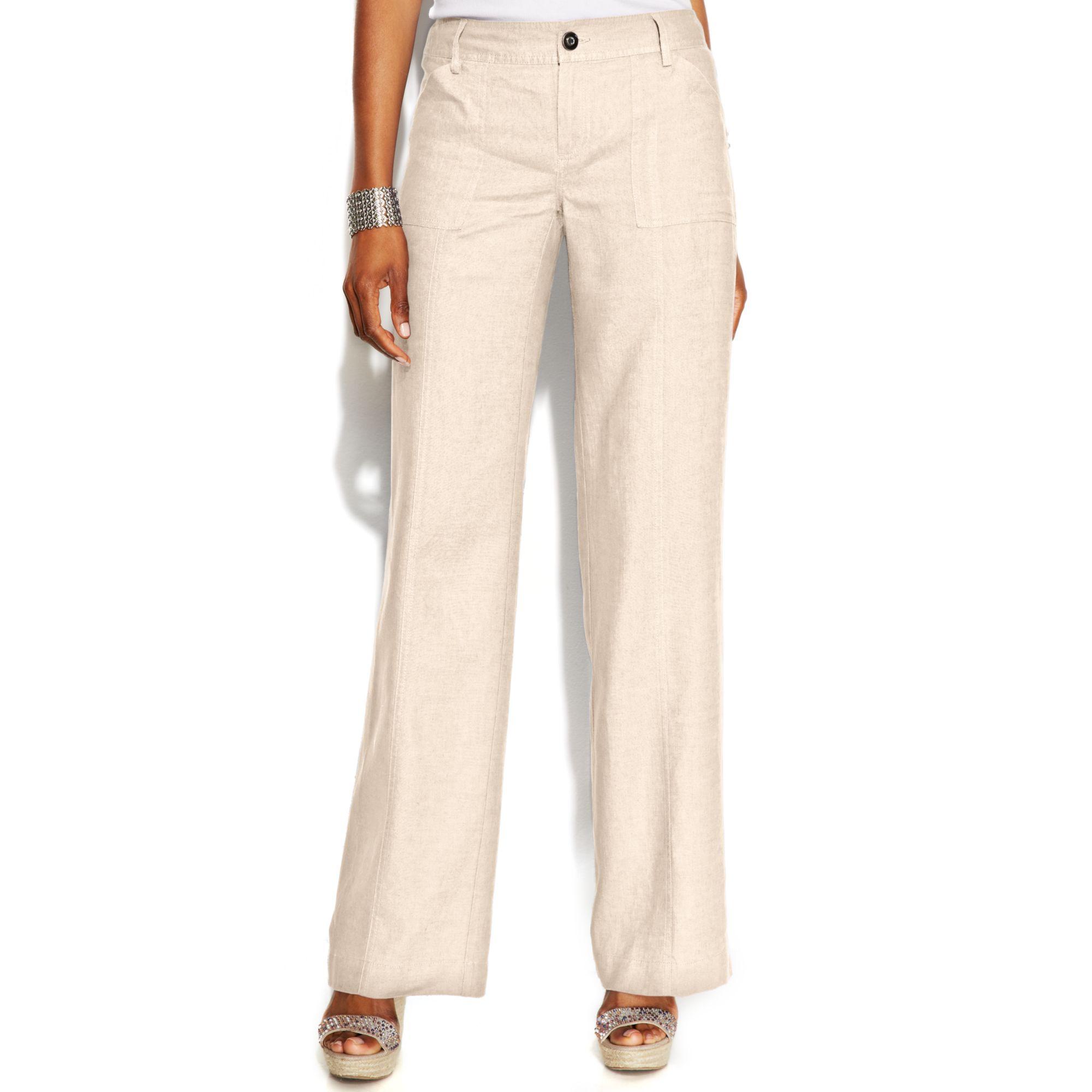 Elegant Beige Flared Linen Pants  Women  Zulily