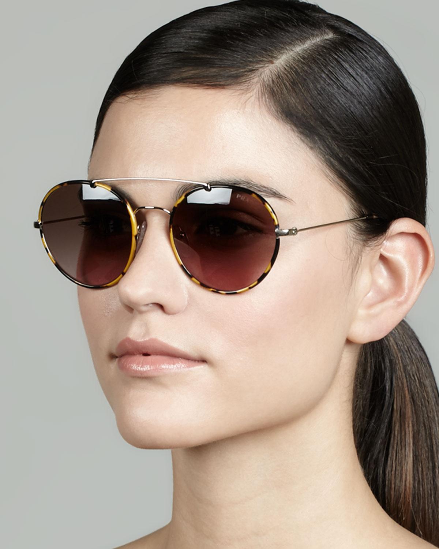 93b1fe8749b Lyst - Prada Catwalk Round Aviator Sunglasses in Brown