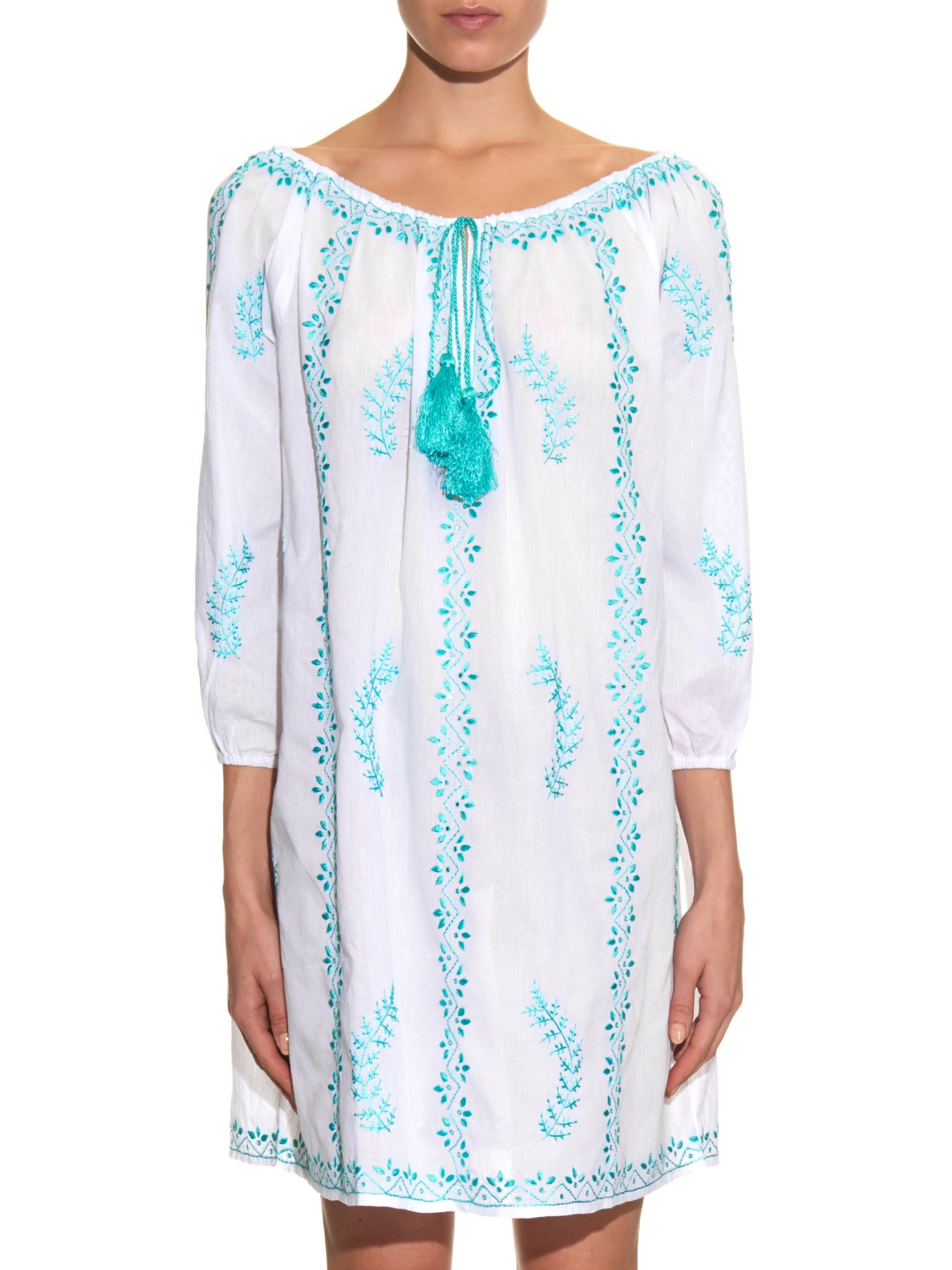 Juliet dunn hand embroidered cotton beach dress in blue lyst