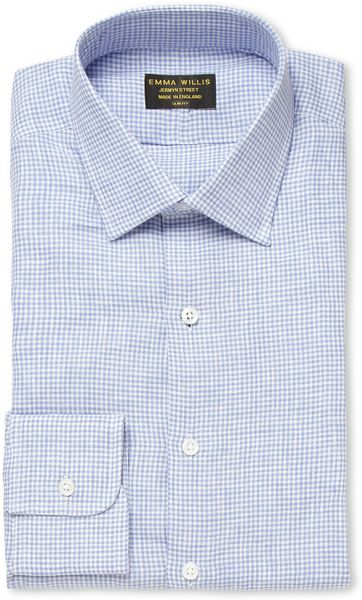 emma willis shirts ~ emma willis blue gingham check linen shirt in blue for men