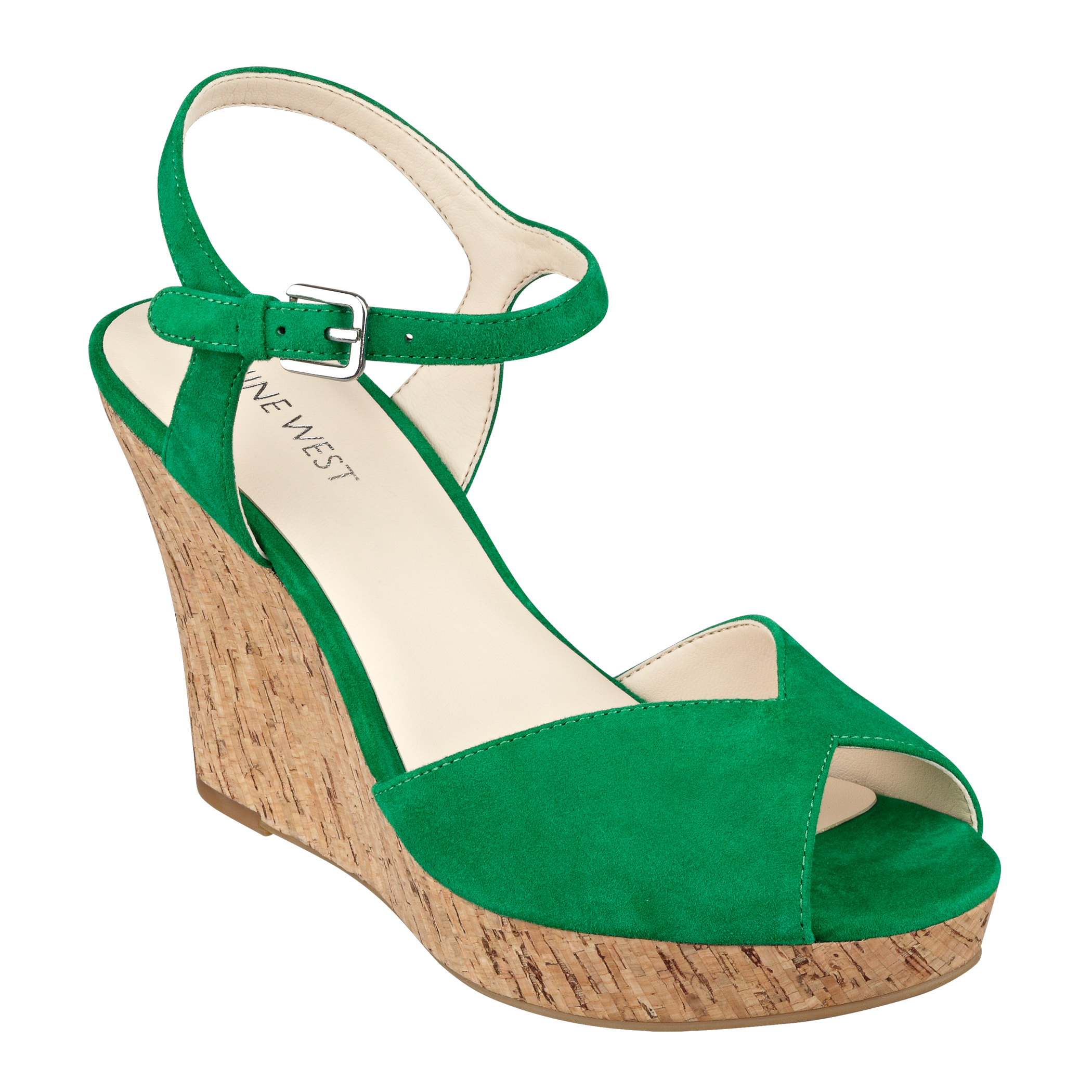 Nine west Bigeasy Open Toe Wedge Sandals in Green | Lyst