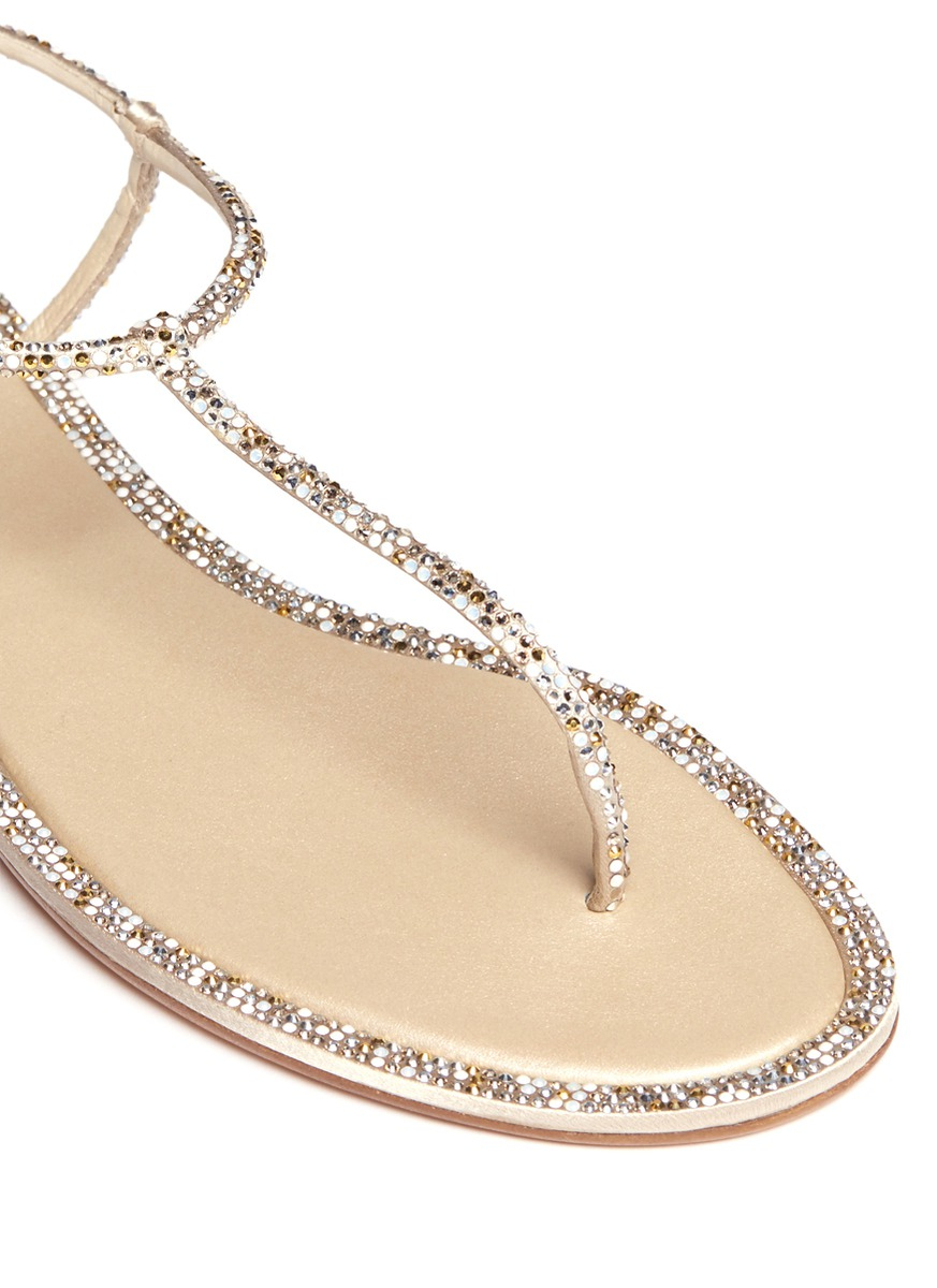 b748b202e097f7 Lyst - Rene Caovilla Cupido Crystal T-strap Flat Sandals in White