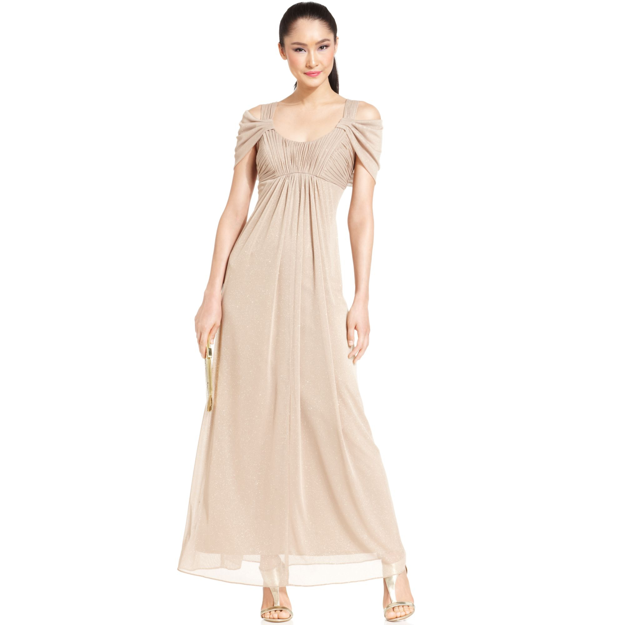 c6109aac0b Alex Evenings Petite Coldshoulder Ruched Glitter Gown in Natural - Lyst