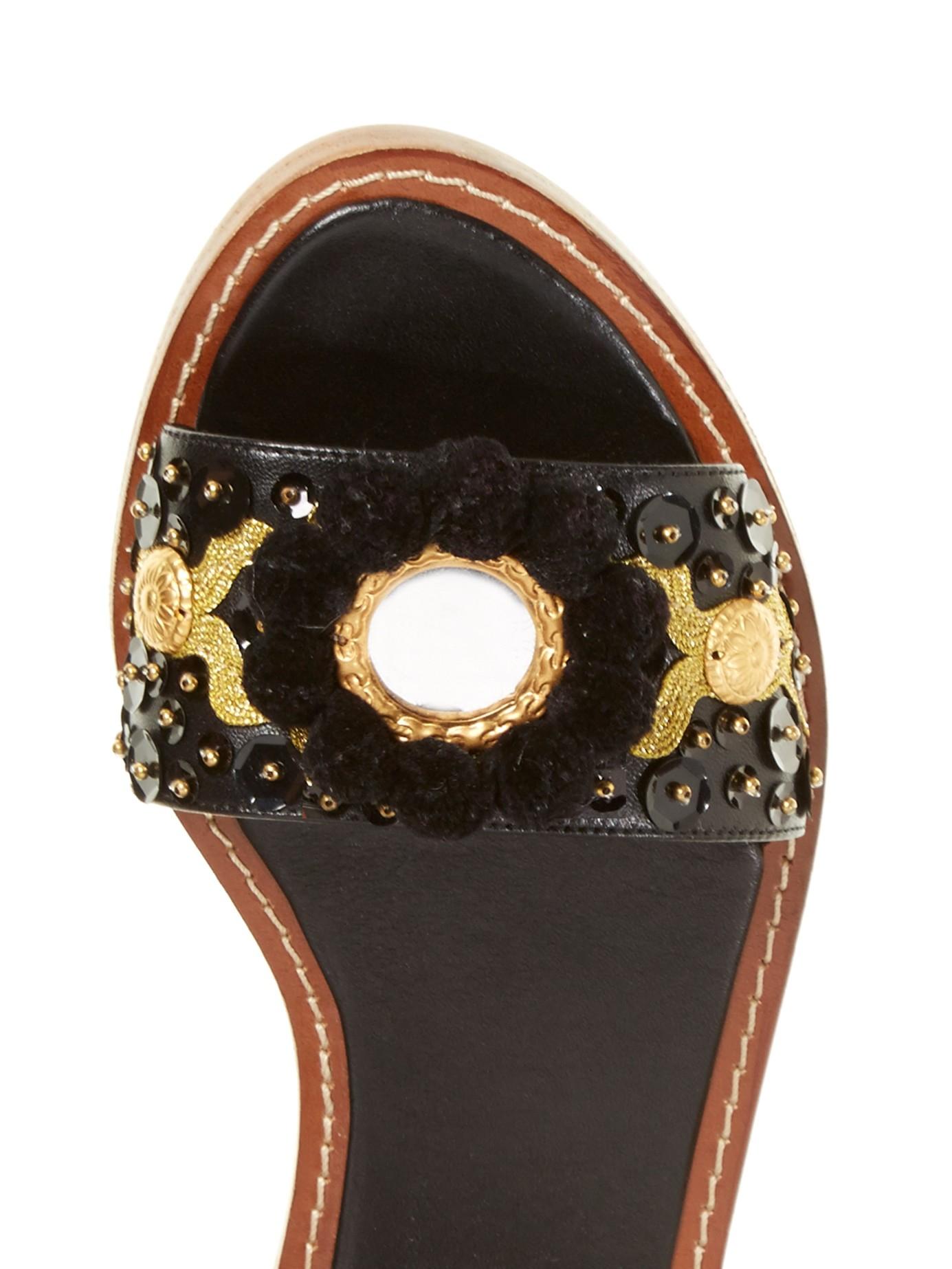 Lyst Dolce Amp Gabbana Pompom Embellished Leather Sandals