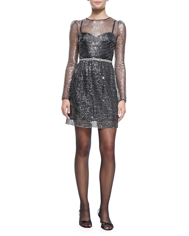 marc sleeve dress w rhinestone bow belt in