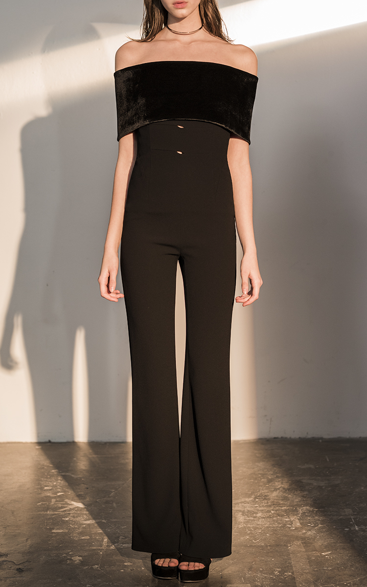 c61fa4f7f04 Lyst - Galvan London Velvet Off-the-shoulder Jumpsuit in Black