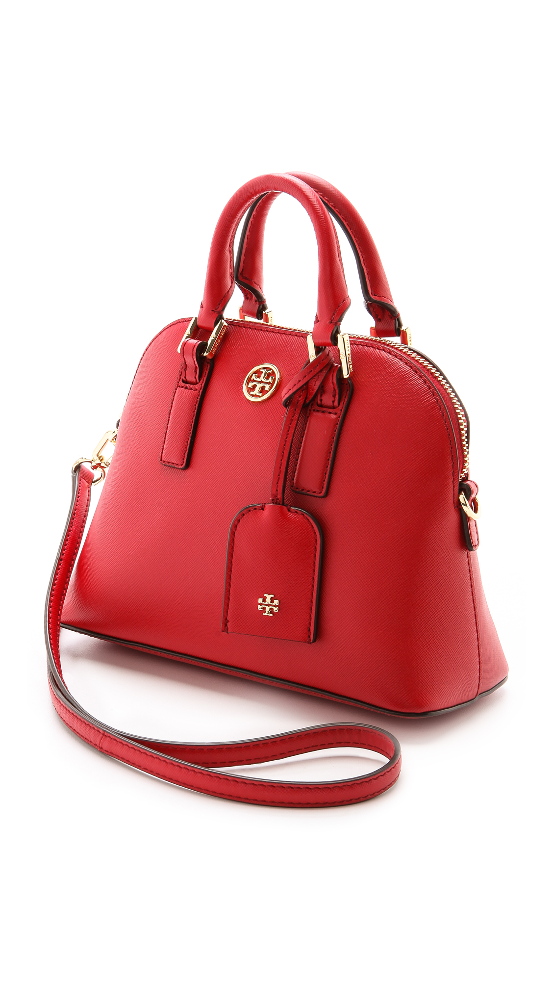 6ccc20ecceb4 Lyst - Tory Burch Robinson Mini Dome Satchel - Jelly Blue in Red