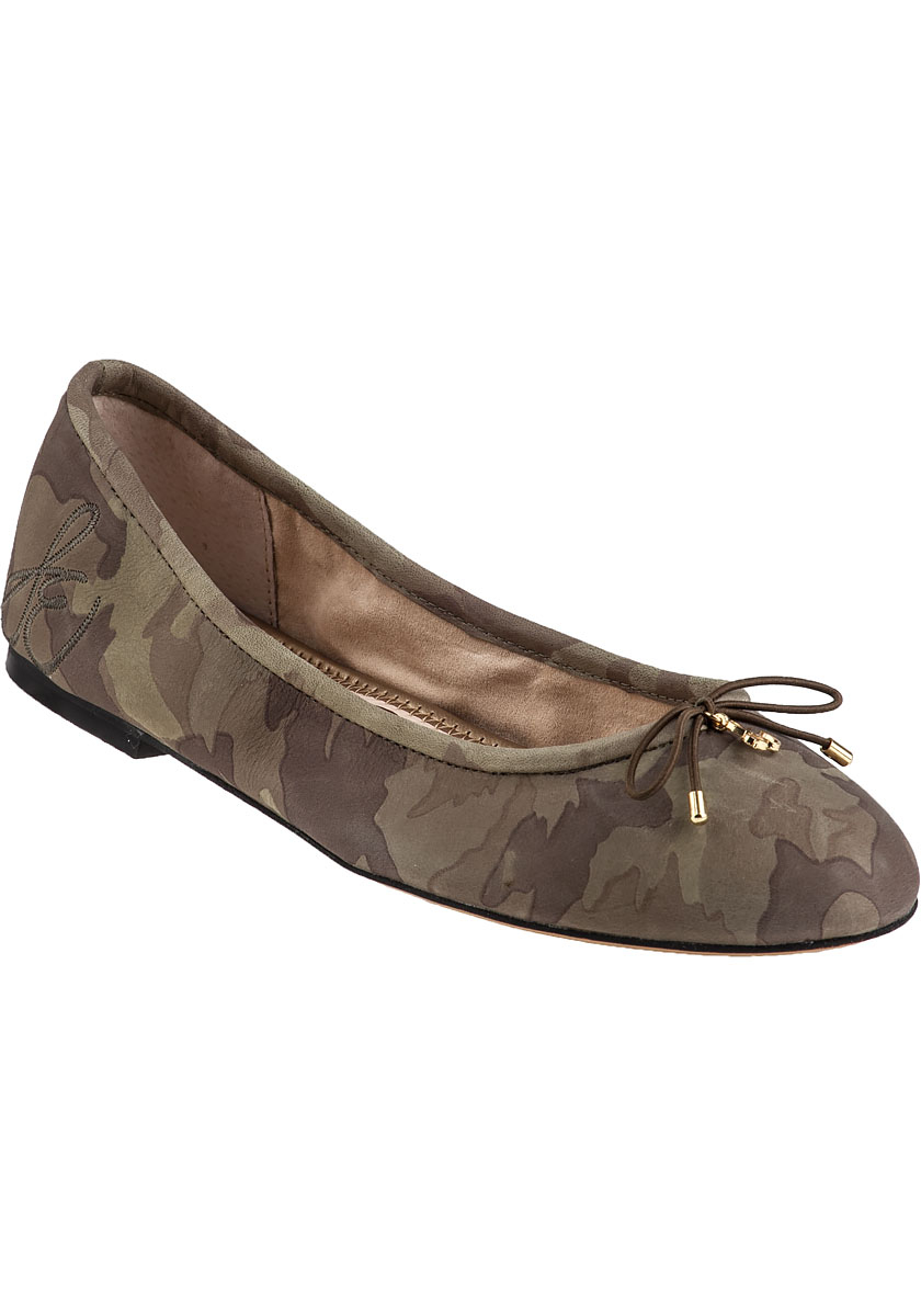 1f0385f733d8 Lyst - Sam Edelman Felicia Ballet Flat Camo Leather in Brown