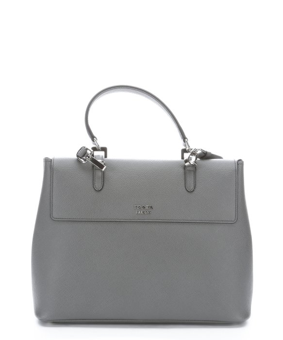 afc99ace12a0 ... czech lyst prada marble grey leather buckle detail convertible tote bag  3b9ed d2342