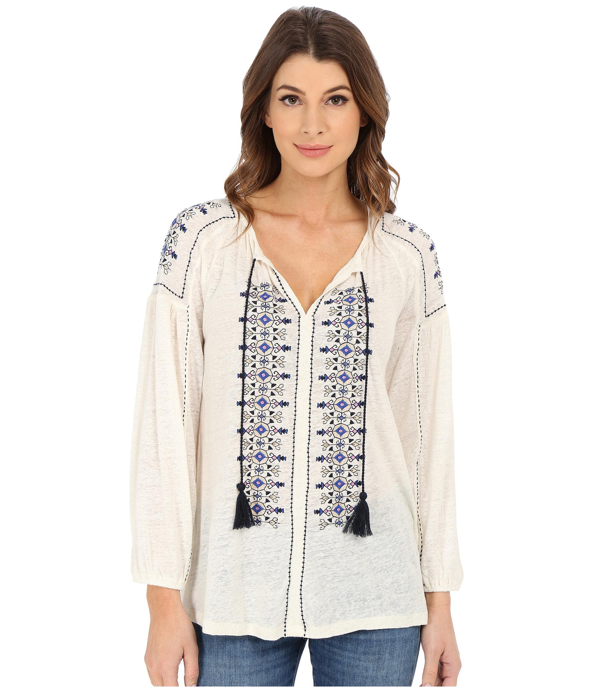 4e378570eb4e Lyst - Lucky Brand Embroidered Peasant Top in White