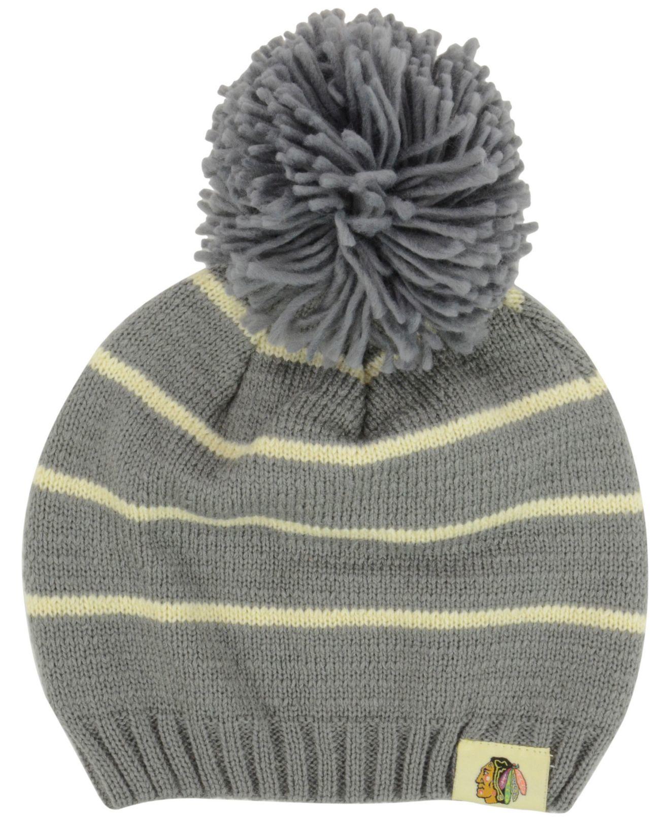 Lyst - Reebok Women s Chicago Blackhawks Pom Knit Hat in Gray a69b18f1d
