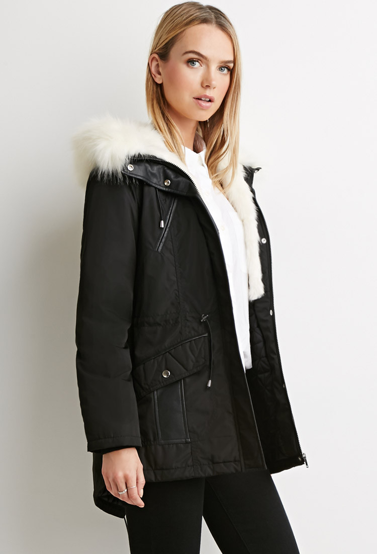 Forever 21 Contemporary Faux Fur-hood Parka in Black | Lyst