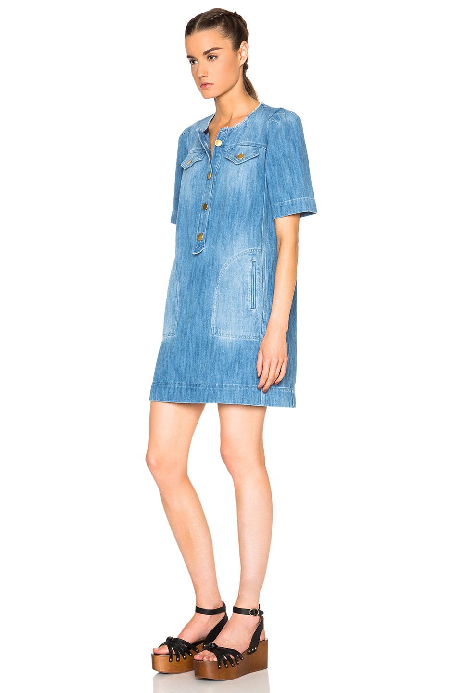 cf794bf0fbc Lyst - Étoile Isabel Marant Oriane Fluffy Jean Dress in Blue