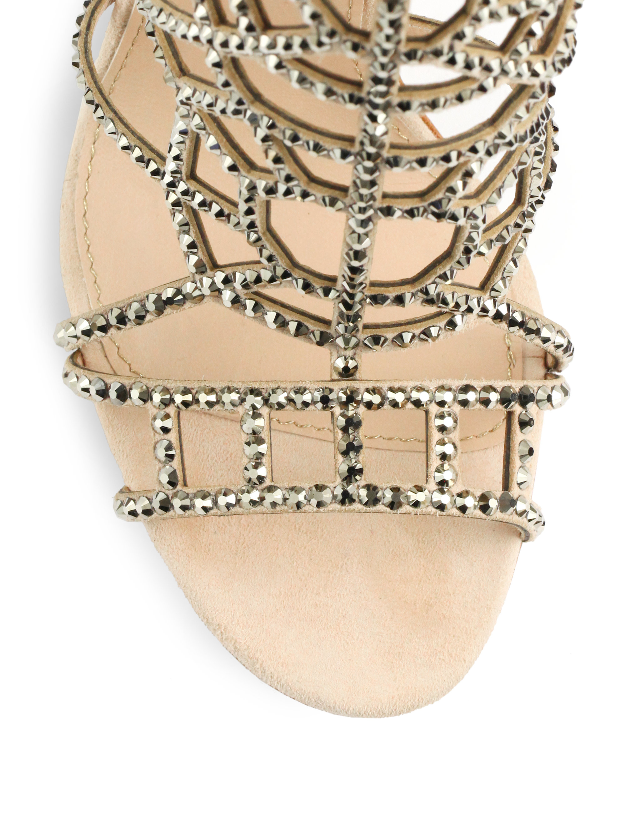 ed12d36a4835 Lyst - Sergio Rossi Crystal Suede Puzzle Sandals in Natural