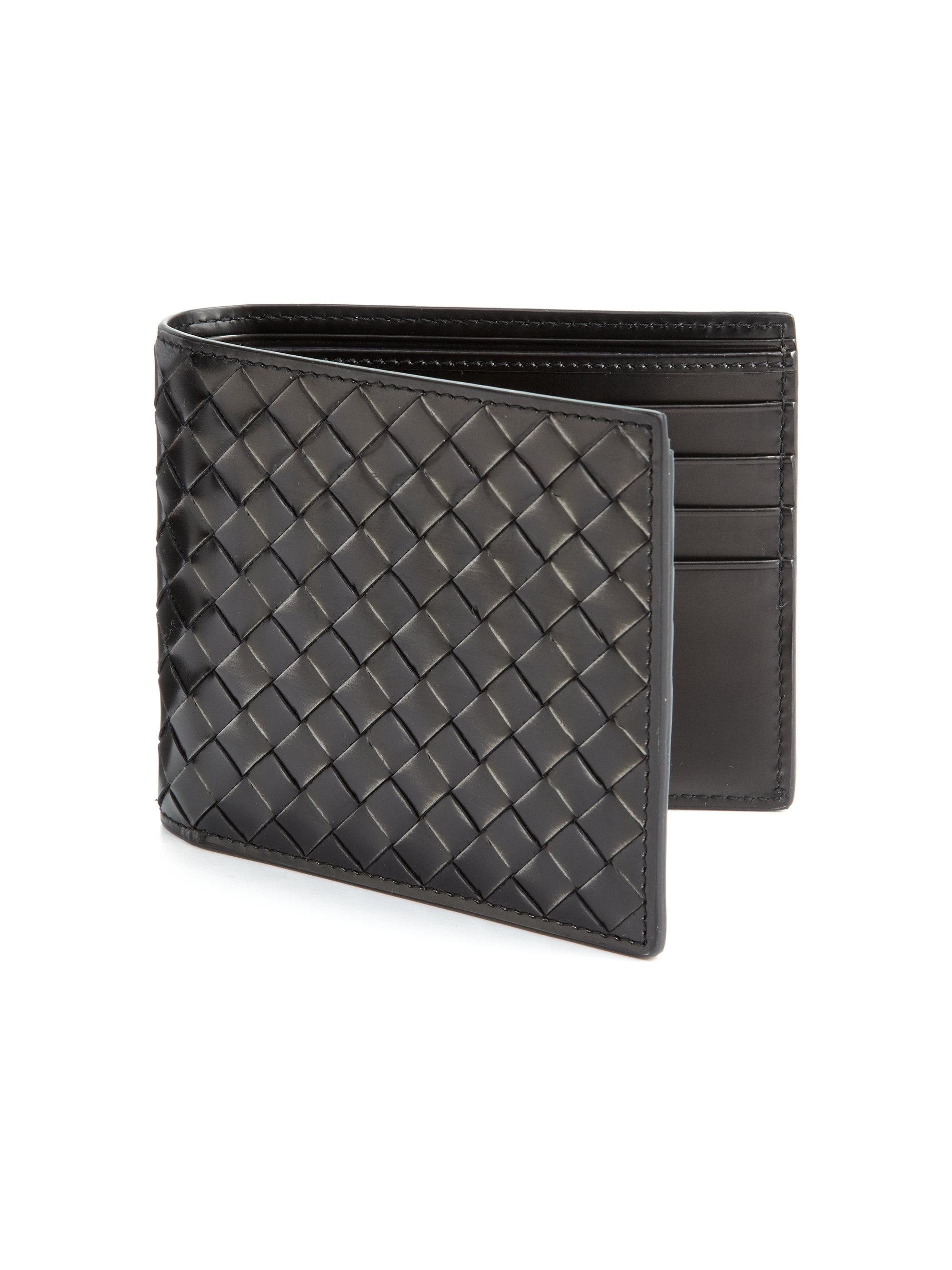Bottega Veneta Intreccio Leather Bifold Wallet in Black b36783be3b866