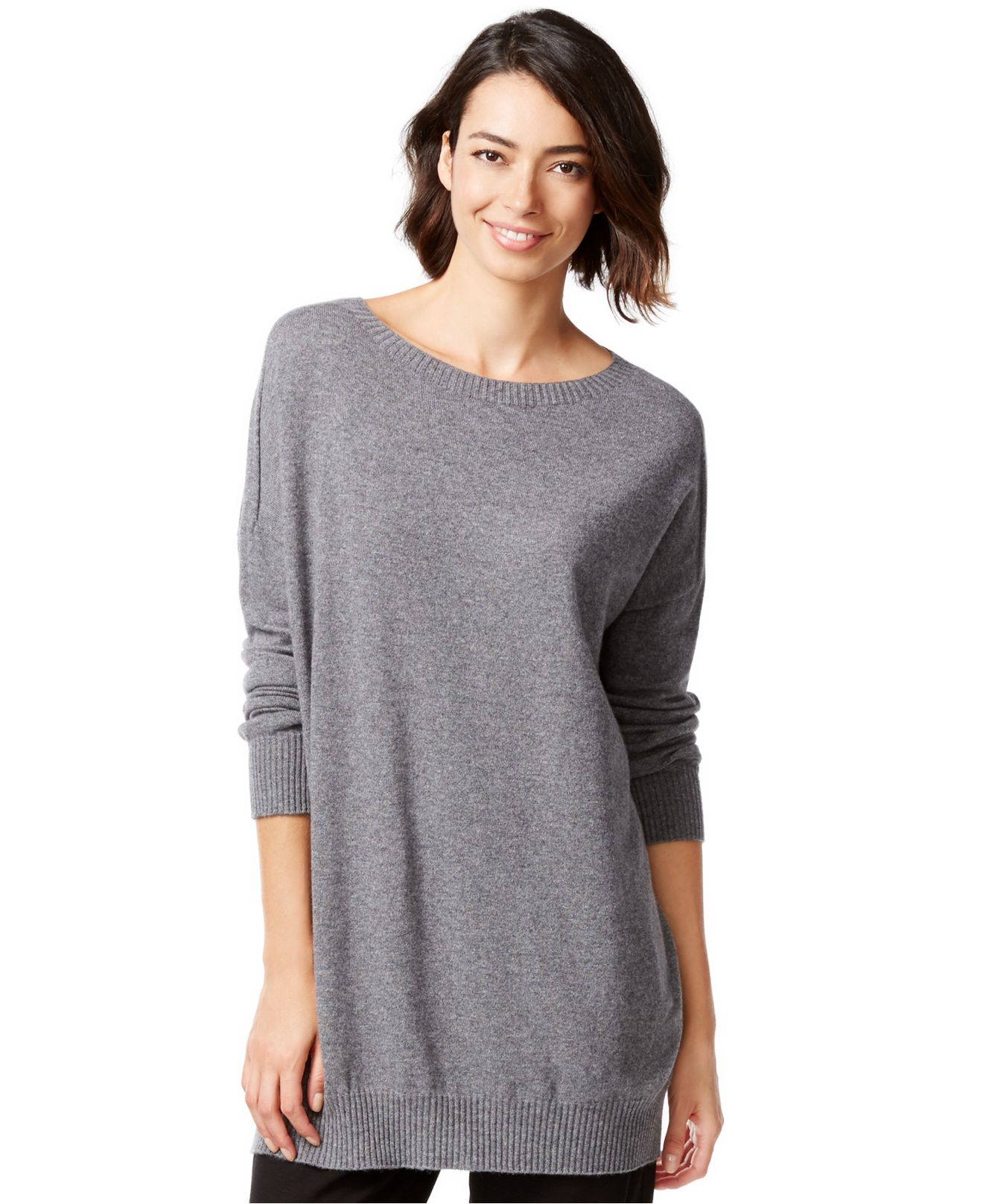 4577e554e45 Eileen Fisher Cashmere Relaxed-fit Sweater Tunic in Gray - Lyst