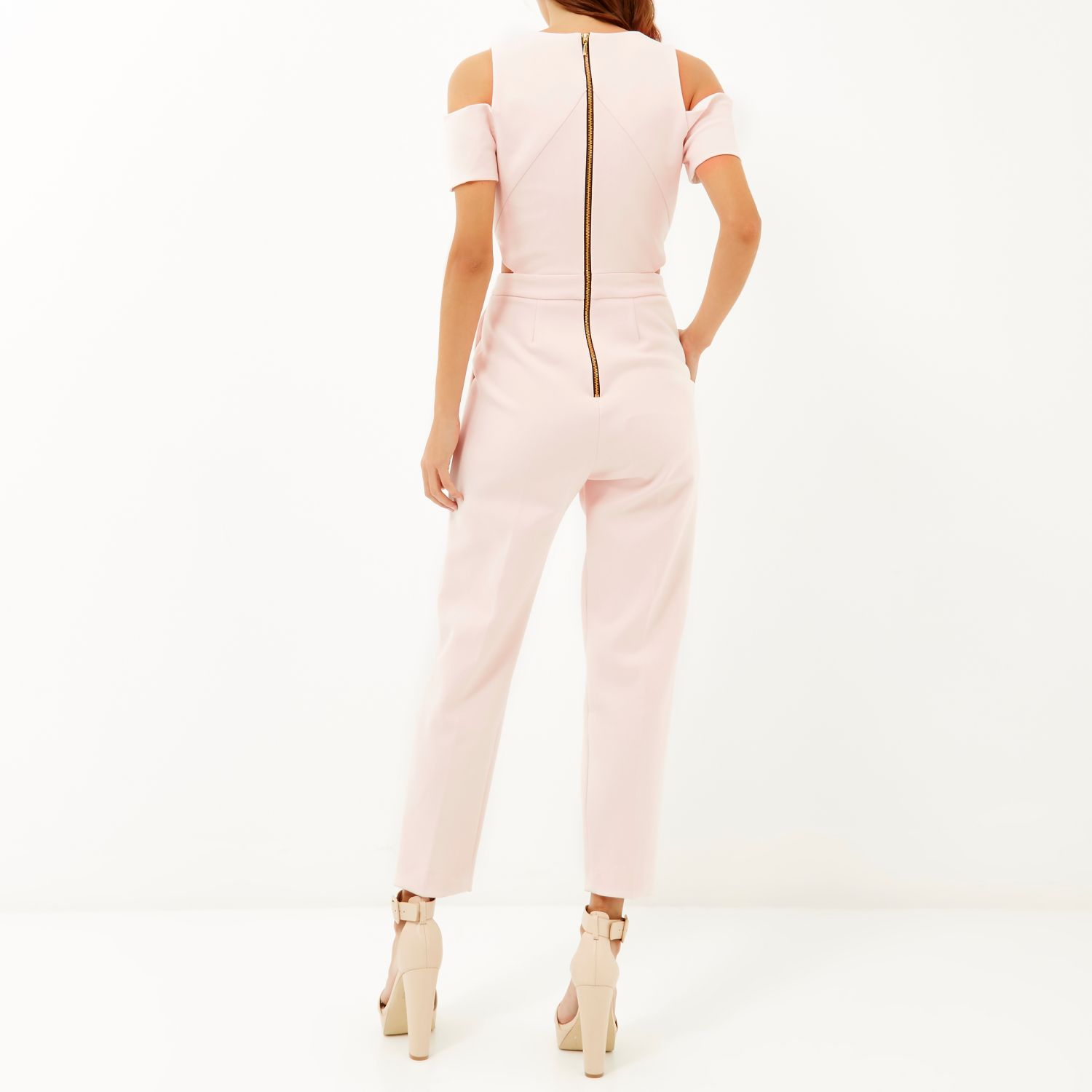 Womens Light Pink cold shoulder belted jumpsuit River Island urAPWl