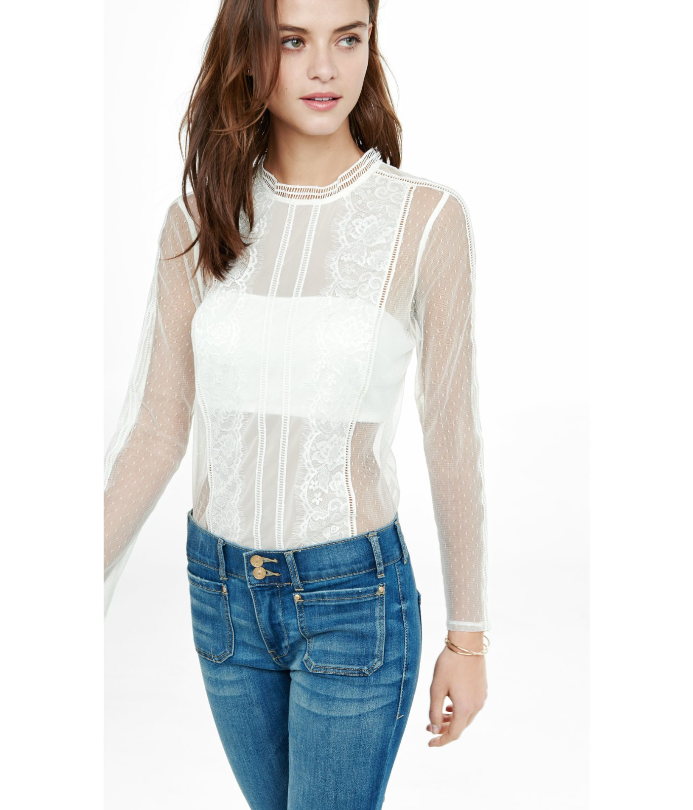 934c1a6f8b Express Lace And Mesh Blouse With Bandeau in White - Lyst