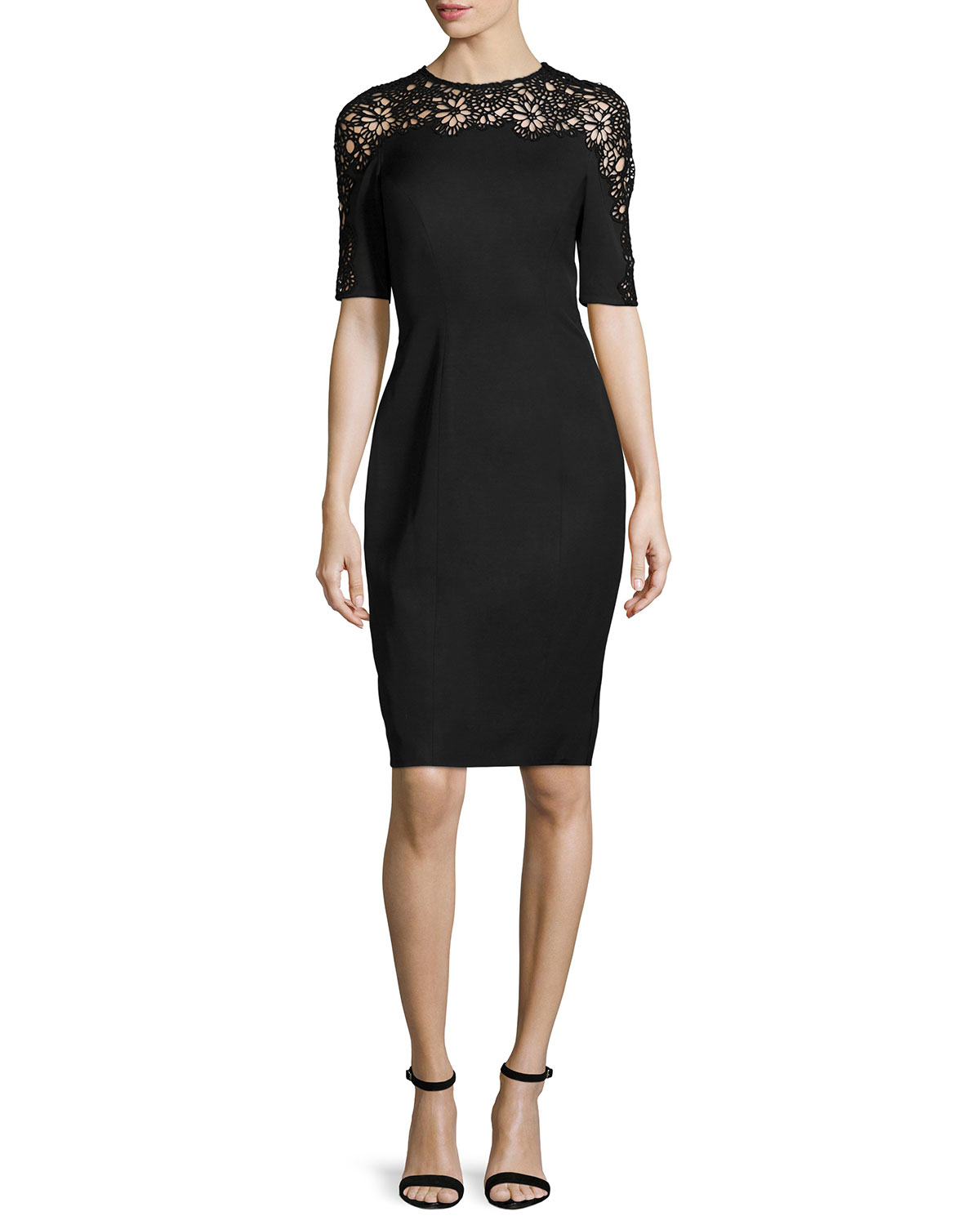 Lyst Lela Rose Short Sleeve Lace Inset Sheath Dress In Black