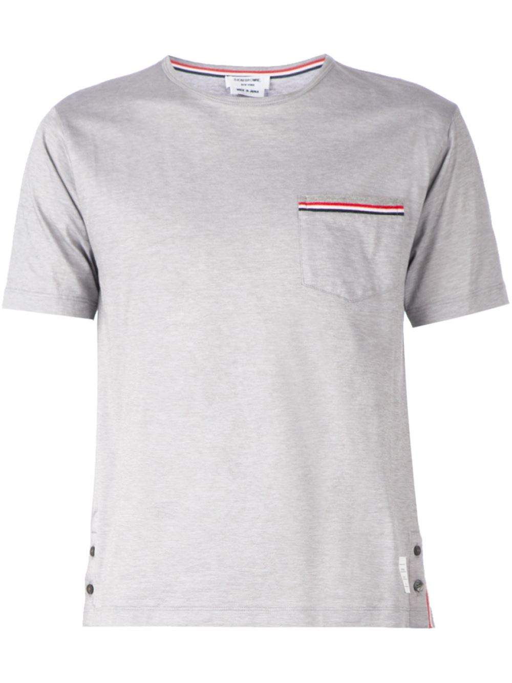 Thom browne chest pocket t shirt in gray for men lyst for Thom browne t shirt