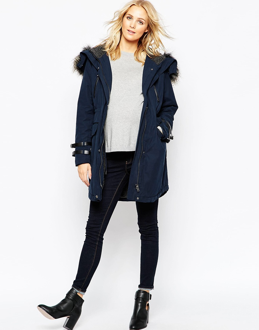 Asos Parka Coat In Wax Finish With Faux Fur Hood in Blue | Lyst