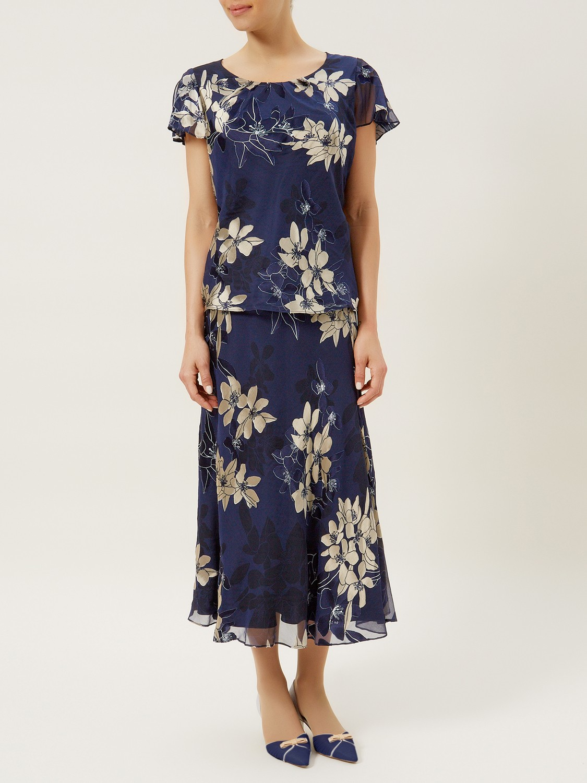Jacques Vert Floral Devore Skirt In Blue Navy Multi Lyst