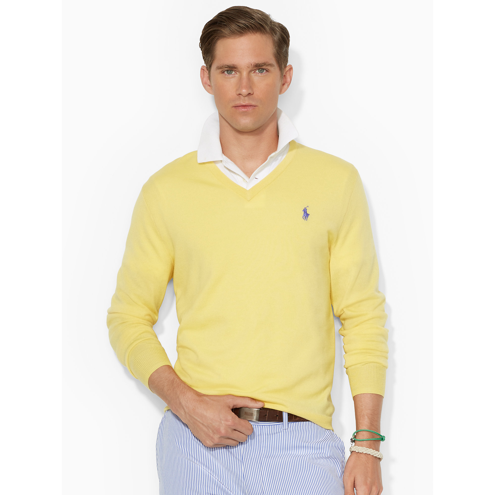 Ralph lauren Merino Wool V-Neck Sweater in Yellow for Men | Lyst