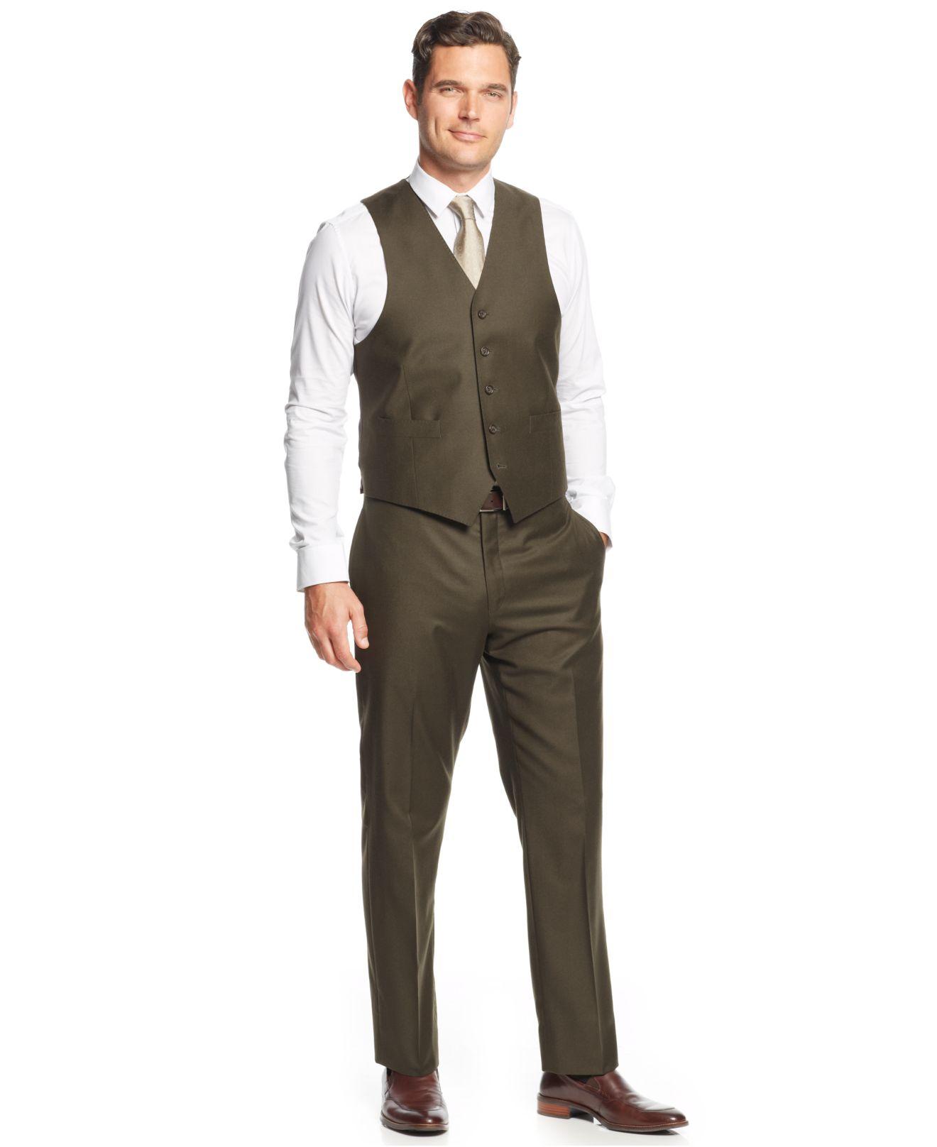 Lauren ralph lauren Olive Solid Flannel Vested Slim-Fit Suit in