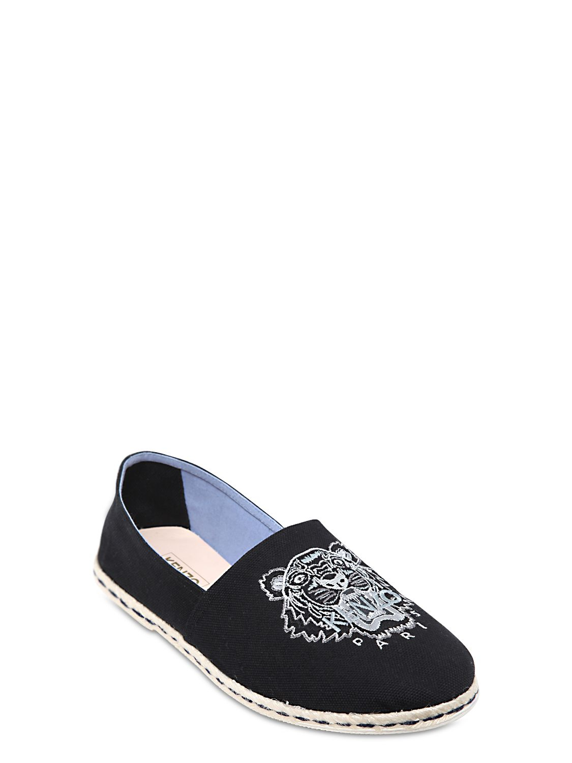 kenzo embroidered cotton canvas slip on shoes in black for