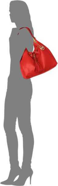Michael Kors Michael Middleton Large Drawstring Shoulder Tote in Red (MANDARIN) - Lyst
