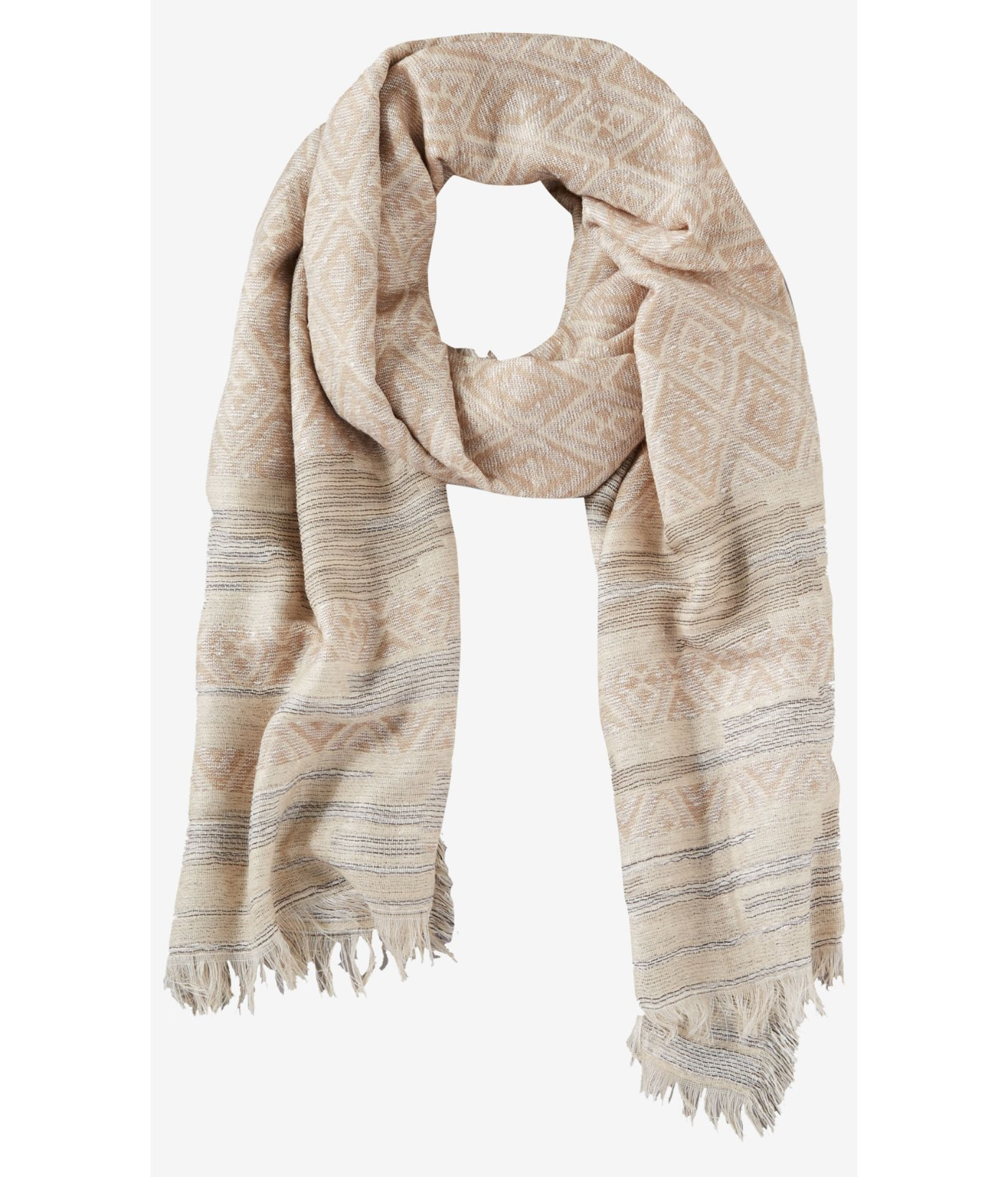 1d40f97555d91 Lyst - Express Tan Geo Print Oversized Oblong Blanket Scarf in Natural