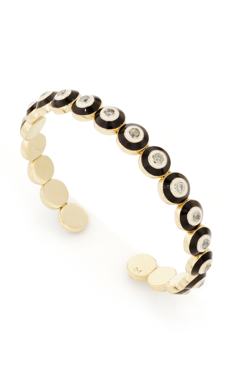 Luis Morais Black Enameled Evil Eye Mantra Amulet Bracelet in