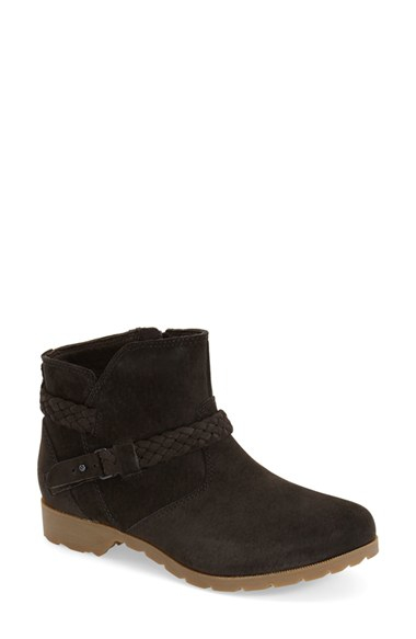 teva delavina suede ankle boots in black lyst