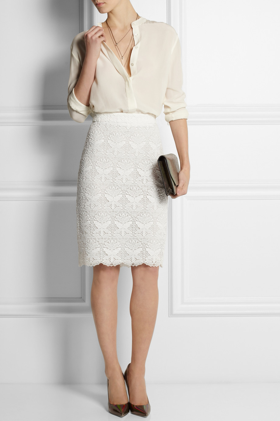 Emilio pucci Macramé Lace Pencil Skirt in White | Lyst