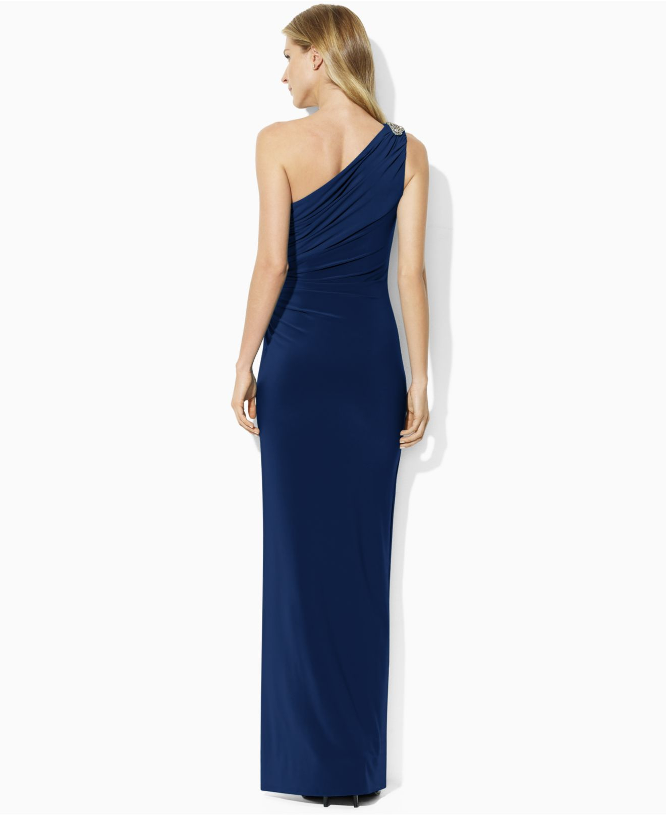 7f97791a7d Lauren by Ralph Lauren One-Shoulder Evening Gown in Blue - Lyst